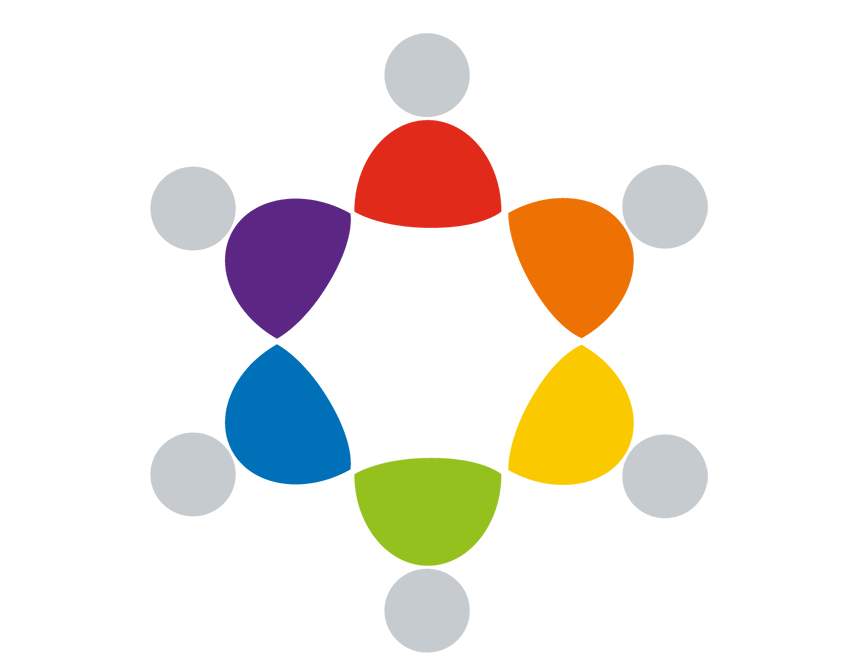 Part of the Safeguarding Adults York logo can be seen. There are size simplified styles of a person touching each other at the shoulders forming a circle. The heads are light grey in colour, and the bodies each have a different colour.